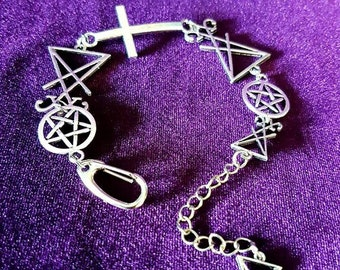 Occult Bracelet - lucifer sigil of lucifer baphomet occult gothic witch black magic infinity fallen angel venus