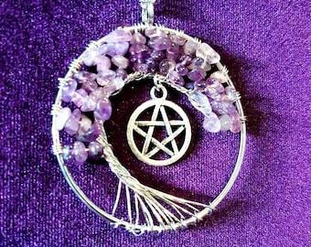Pentagram Bonzai Amethyst Tree Necklace
