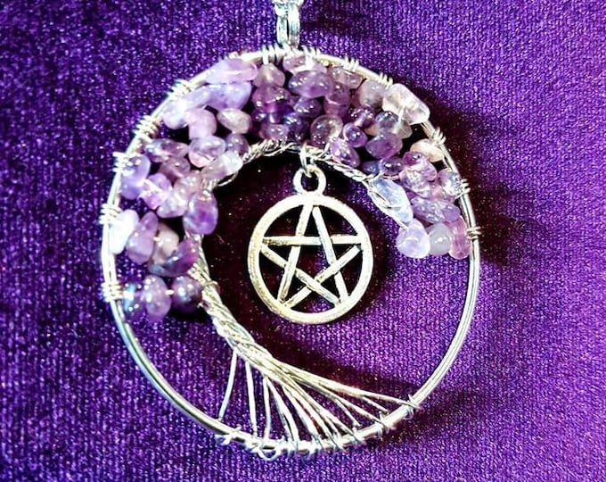 Pentagram Bonzai Amethyst Tree Necklace - Spiritual gemstone tree of life  wicca wiccan gothic pagan pendant