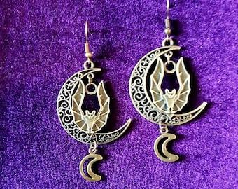 Vampire Moon Bat Earrings - goth gothic vampyre crescent moon hanging bat