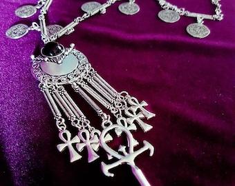 Seven Ankh Vampire Necklace -   Vampire Egyptian symbol goth gothic necklace big huge vampire ankh