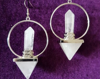 Atlantian Energy Earrings - spiritual occult quartz cristal gemstone gothic earrings atlantis lemuria