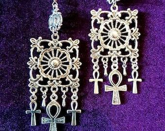 5th Chakra Ankhing Earrings