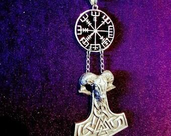 VEGVISIR RamHead Hammer Necklace - occult icelandic viking compass astaru galdrabok huld manuscript way finder thor hammer