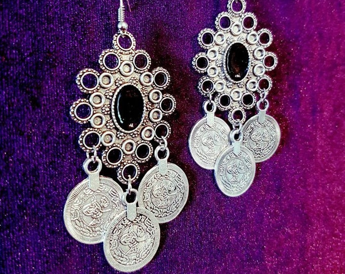 Triple Coins for Charon Earrings - goth gothic occult river styx kharon ferry hades acheron charon earring