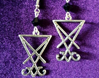 Sigil of Lucifer Earrings (2 styles) - gothic occult luciferian seal of lucifer