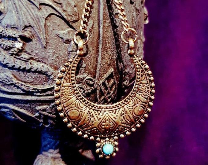 Ethnic Crescent Moon Indian Earrings - spiritual ethnic bronze colour turquoise earring gothic