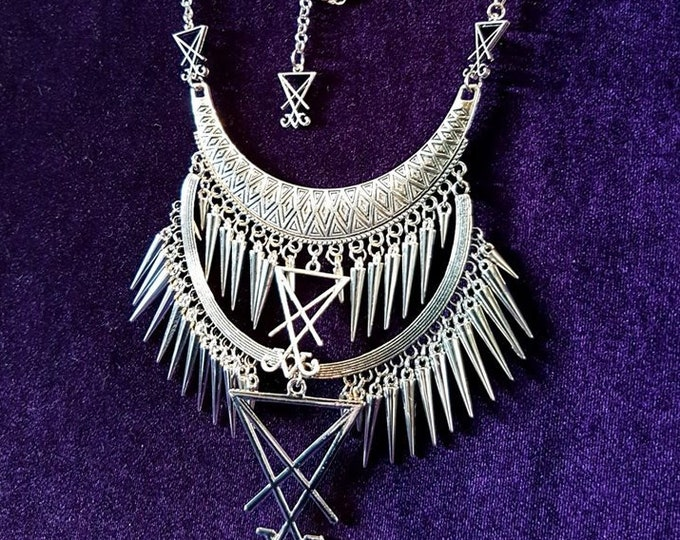 Luciferian Spikes of Truth Necklace - occult left hand path sigil of lucifer gothic jewellery
