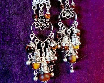 Eye of The Tiger Beaded Earrings - spiritual tigereye wicca boho gothic protection magical witch pagan