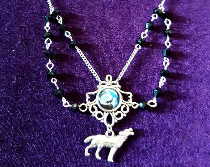 Wolf Spirit Animal Necklace - spiritual howling wolf bark at the moon jewellery
