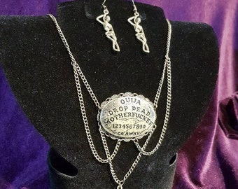 Ouija Drop Dead Motherfucker Necklace and Earrings Set