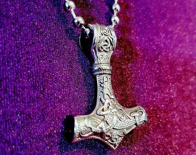 Hammer Necklace - goth gothic pagan viking thor norse mythology pendant