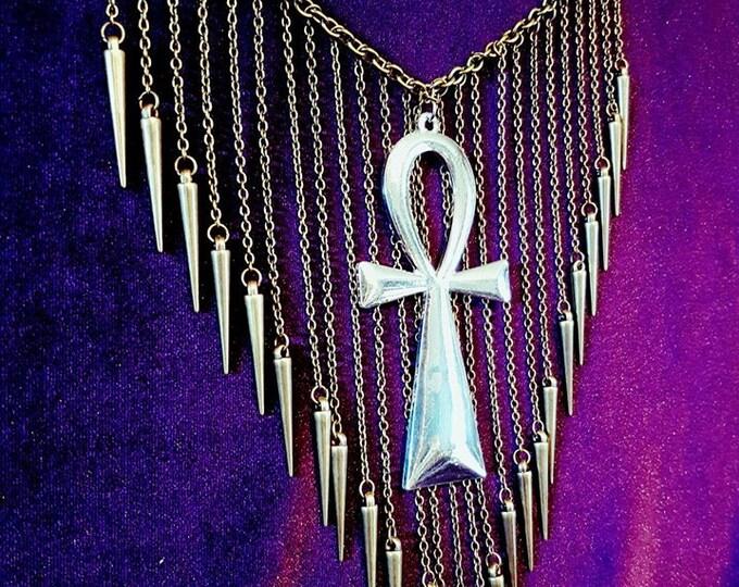 Rain of Spikes Ankh Necklace - goth gothic egypt egyptian ankh symbol big ankh spikes