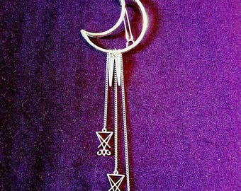 Luciferian Hairclips - lucifer gothic hairclips sigil of lucifer satanic demonic baphomet luciferian jewellery