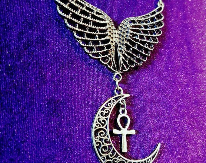Wings of Eternity Necklace - egyptian gothic ankh vampire wing ankh pendant crescent moon