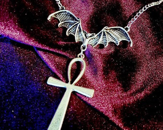 Ankh Vampire Bat Necklace - Ankh vampire Bat Batcave Gothic Occult Dracula Vampyre Drauga Dragon Strigoi Vii Egypt Set Isis