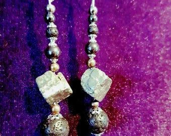 Pyrite,lava, hematite Grounding earrings - pagan witch wicca healing gothic spiritual magical