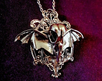 Winged Crow Skull Necklace