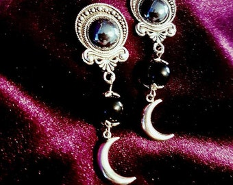 Black Jade Mini Moon Earrings (Plugs or studs) - goth gothic witch witchy occult witchcraft wicca wiccan crescent moon