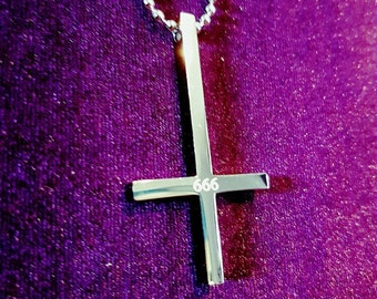 Inverted 666 cross - occult goth gothic up side down crucifix anti christ anti religion
