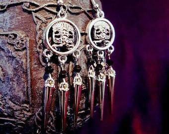 Spikey Maya Earrings - goth gothic ancient tribe spike earrings culture
