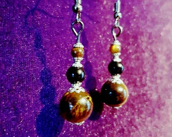 Tigereye Onyx gemstone Protection earrings