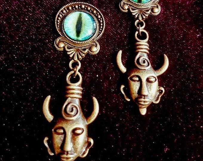 Demon's Eyes earstuds/plugs - plugs studs demon demon's eyes occult lucifer dragon witch pagan magic eyeofhorus