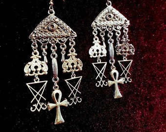Luciferian Ankh Cluster Earrings