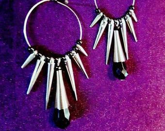 Gothic Spike Hoop Earrings
