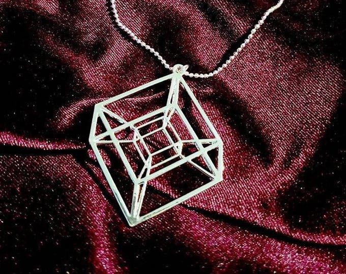 Tesseract Hypercube Necklace - occult geometry satan saturn black cube apep apophis sacred geometry