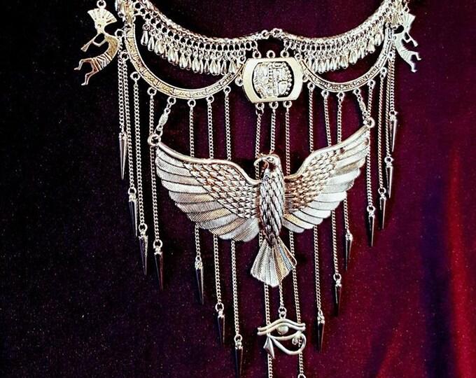 Freedom Neckpiece - gothic freedom eagle eye of horus spikes kokopeli necklace