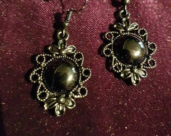 666 Onyx Earrings - onyx 666 witch pagan occult lucifer baphomet gothic victoriangoth victorian steampunk