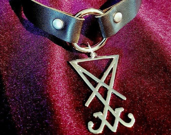 Sigil of Lucifer Ring Choker - occult luciferian sm goth gothic steel ring pu leather vegan bondage bdsm