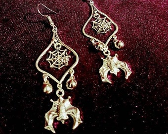Vampire Bat Earrings With Spiderweb.