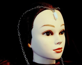 Mystic Opalite Elf Tiara | Headpiece - goth gothic fantasy elf crown elven headwear opal moon