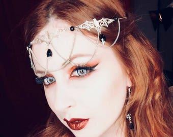 Bat Tiara - gothic occult vampire chain headpiece