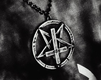 Inverted 666 Pentagram Cross Pendant