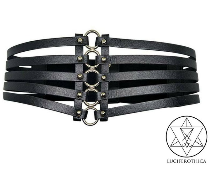 Black Cage MultiStrap Corset Waist Belt - gothic goth sm black pu leather vegan friendly bdsm