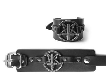 Black Leather Pentagram Inverted 666 Cross Bracelet | Buckle or Buttons - 666 occult black metal anti religion antichrist goth gothic