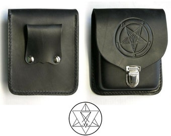Sigil of Baphomet Leather Belt Bag | Pouch - occult satanic black goat of mendes belt accesory