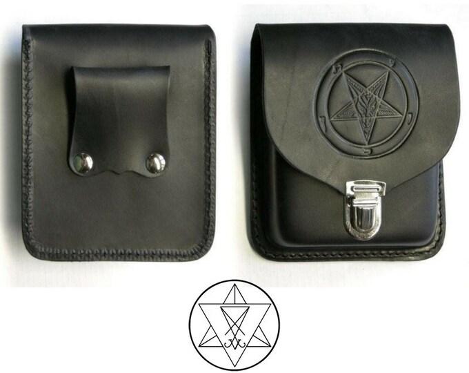 Sigil of Baphomet Leather Belt Bag   Pouch - occult satanic black goat of mendes belt accesory