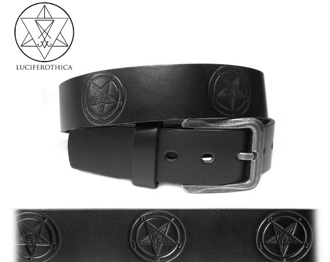 Sigil of Baphomet Belt - occult goth gothic satanic left hand path leather