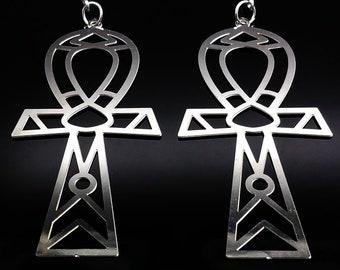 Stainless Steel Ankh Earrings