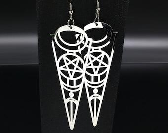 Stainless Steel Pentagram earrings - stainless steel pentagram earrings Baphomet Left Hand Path Occult