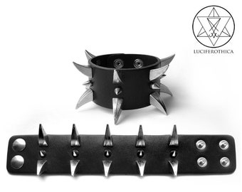 Black Leather  Curved Spike Bracelet