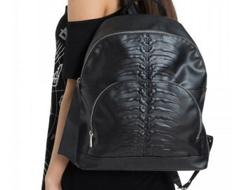 Spine BackPack - gothic big bagg skull zipper goth