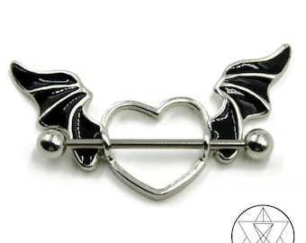 Winged Heart Nipple Piercing