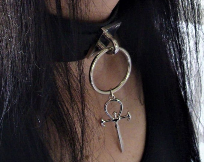 PU Leather Choker Vampire Ankh - Choker Vampire Ankh Gothic  occult sm goth gothic steel ring pu leather vegan bondage bdsm fetish
