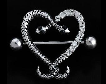 Snake Heart Rhinestone Nipple Piercing