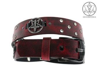 Satanic Inverted Pentagram & Cross Leather Belt